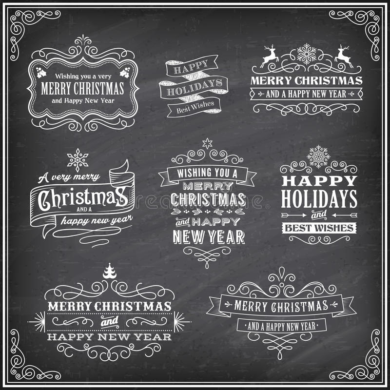 De vectoretiketten van Kerstmischalboard vector illustratie