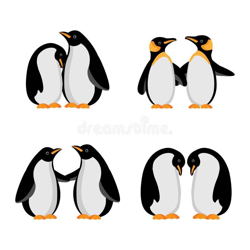 De vectorfamilie van de illustratiepingu?n stock illustratie
