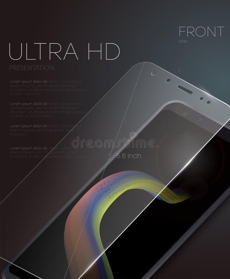 De vectorfilm van de het schermbeschermer of glasdekking Het scherm beschermt Glas Realistische smartphone vector illustratie