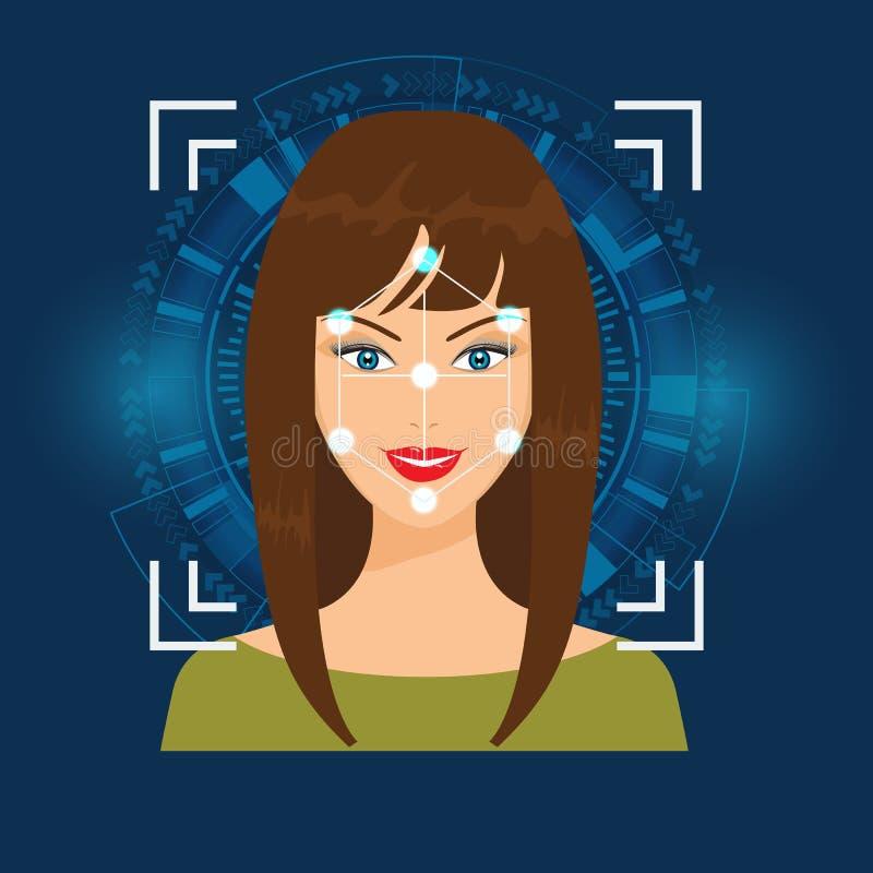 De vectorgezichtserkenning of Faceprint-de vrouw ` s van het technologieaftasten ziet met Abstracte Technologie-Achtergrond onder royalty-vrije illustratie