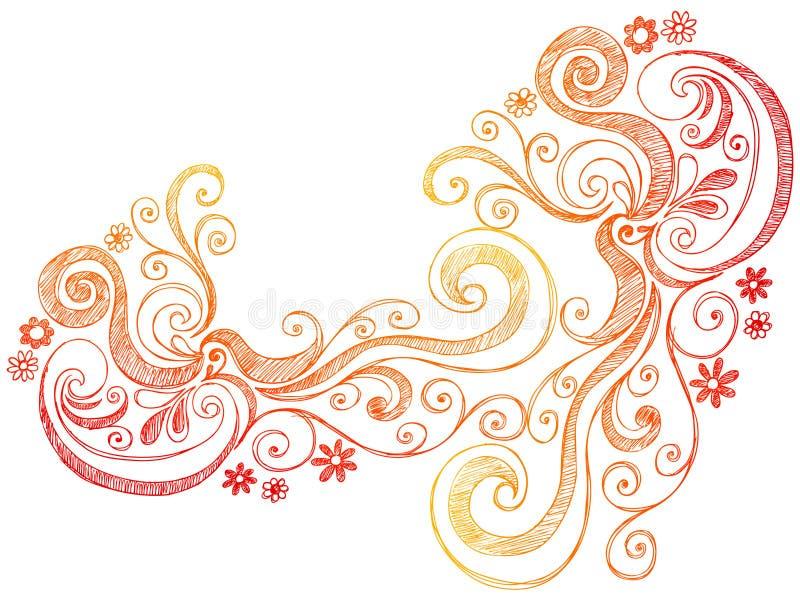 De VectorGrens van de Krabbel van bloemen en van Wervelingen stock illustratie