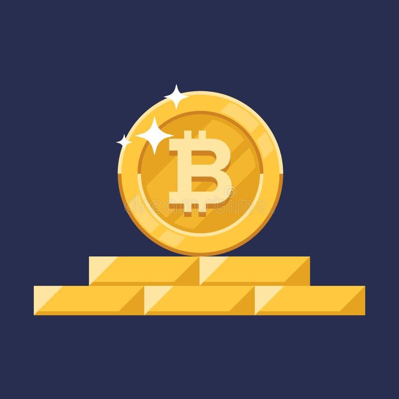 De vectorgroei bitcoin Voor een digitaal geld van Bitcoin, cryptocurrencysysteem Crypto symbool van het munt het gouden muntstuk  royalty-vrije illustratie