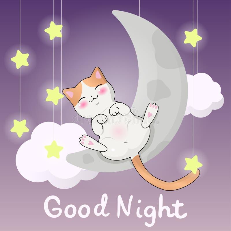 De vectorgroetkaart, de babykatje van de kawaii leuk slaap op een maanillustratie, hand voorzag titel van letters - goede nacht stock illustratie