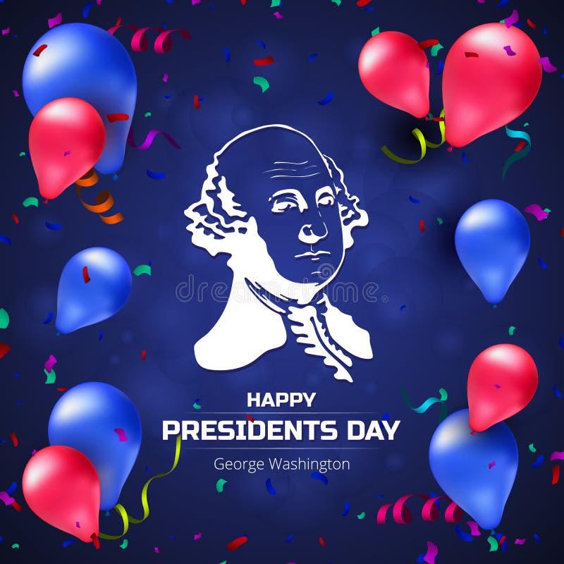 De vectorgroetkaart of de banner met George Washington silhouetteert en ballons aan Gelukkige Presidenten Day - Nationale Amerika royalty-vrije illustratie