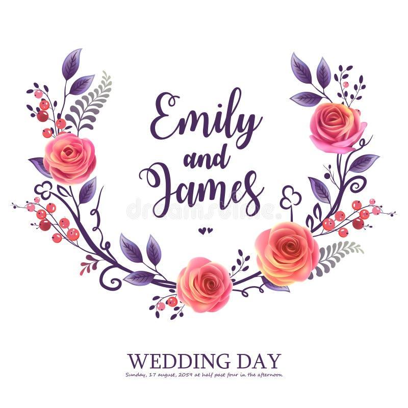 De vectorgroetkaart met rozen en bessen, kan als uitnodigingskaart voor huwelijk, verjaardag en andere vakantie worden gebruikt vector illustratie