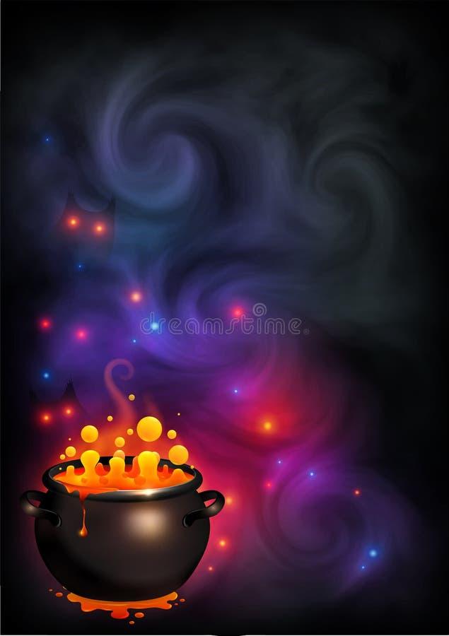 De vectorhalloween-affiche met oranje het borrelen heks brouwt in zwarte pot op donkere violette rook en magische lichtenachtergr vector illustratie