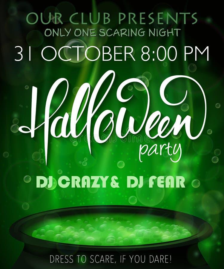 De vectorhalloween-affiche van de partijuitnodiging met hand van letters voorziend etiket - Halloween - met kokende heksenketel stock illustratie