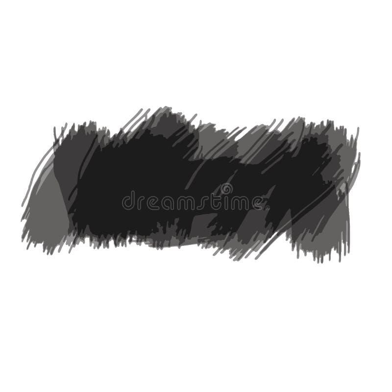 De vectorhand Geschilderde geïsoleerde grunge zwarte plons van de verfborstel op witte achtergrond vector illustratie