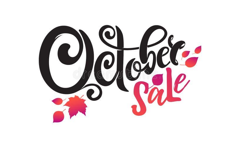 De vectorhand geschreven mooie het van letters voorzien Verkoop van tekstoktober Geïsoleerd en Verfraaid met de herfst dalende bl royalty-vrije illustratie