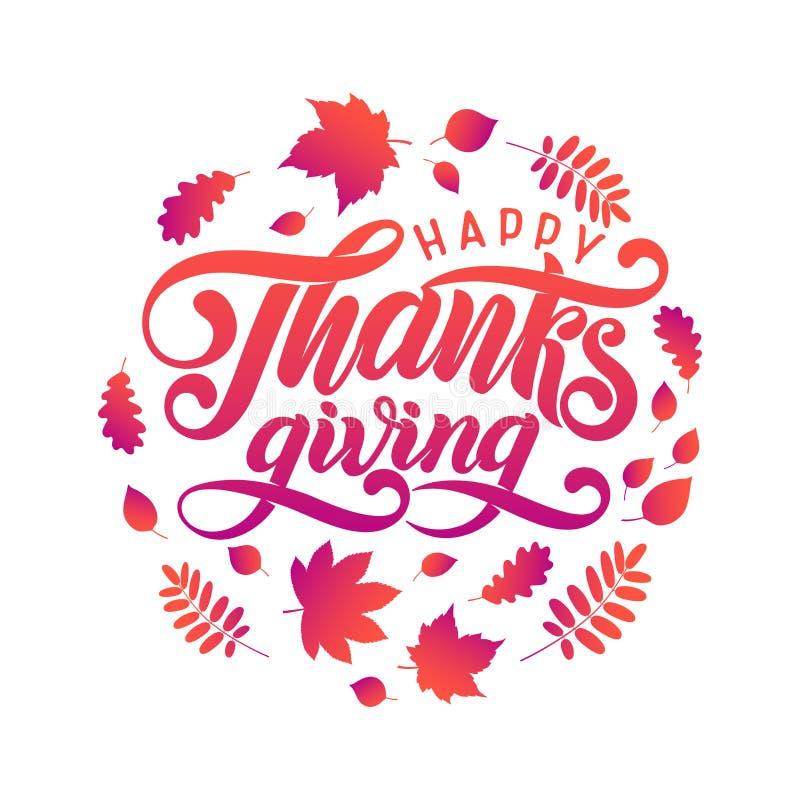 De vectorhand getrokken Gelukkige Dankzeggings Van letters voorziende tekst, gevallen bladeren in cirkel vormt, kader De herfst f stock illustratie