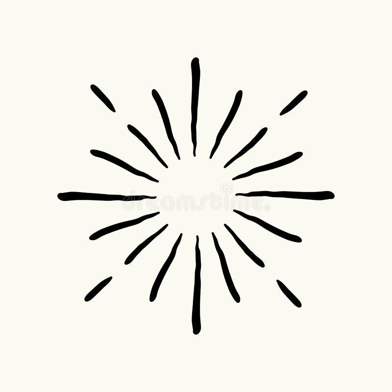 De vectorhand getrokken geometrische radiale lijnzonnestraal, de stralen van de zon of de sterren glanzen, flits Vuurwerk retro,  stock illustratie