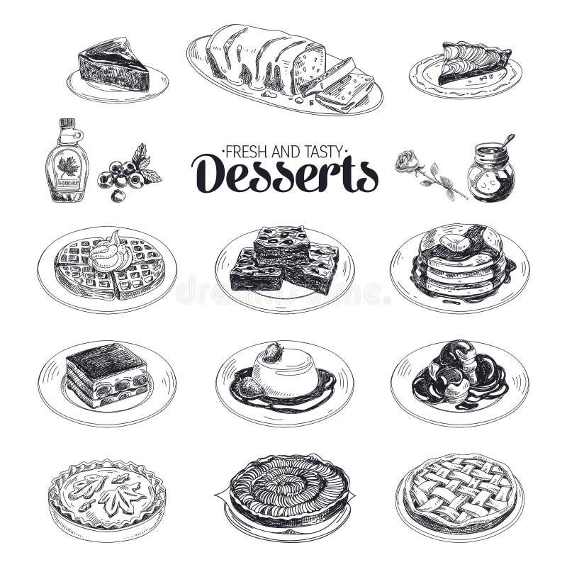 De vectorhand getrokken geplaatste desserts van het schetsrestaurant royalty-vrije illustratie
