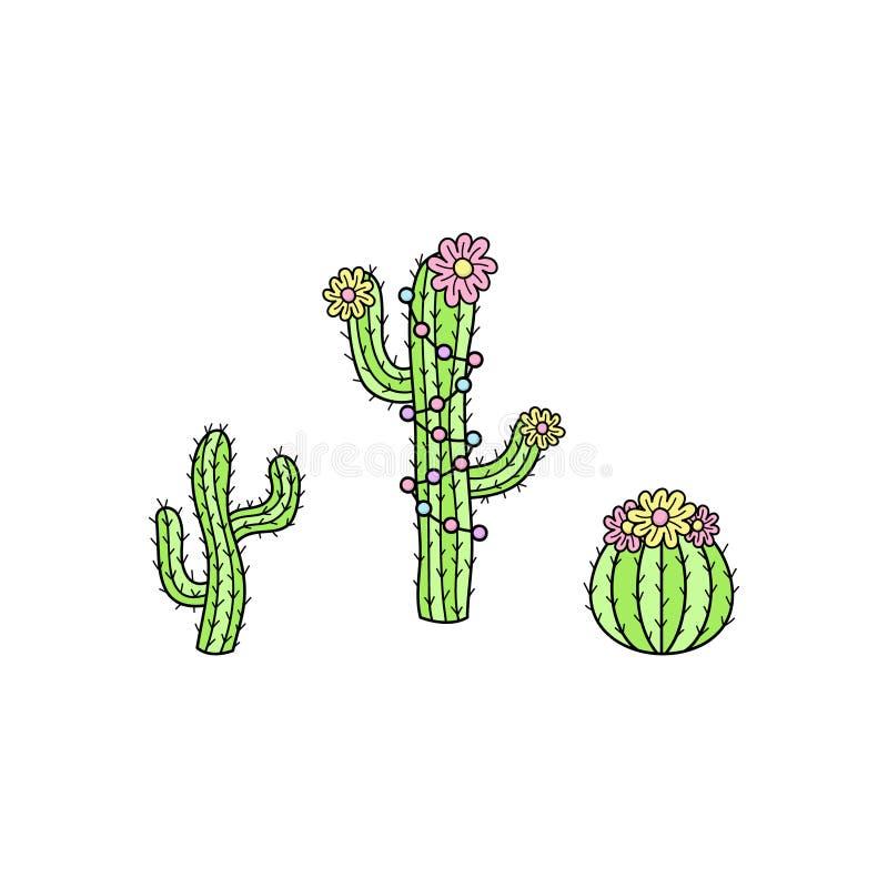 De vectorhand getrokken illustratie van de cactusinzameling vector illustratie