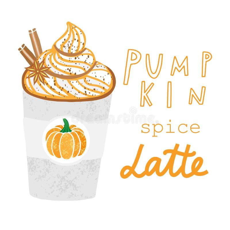 De vectorhand getrokken illustratie van het pompoenkruid latte royalty-vrije illustratie