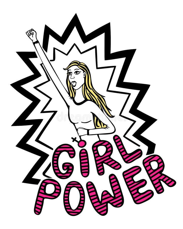 De Vectorhand getrokken illustratie van de meisjesmacht van beeld van krachtig meisje met het van letters voorzien Vrouwen motiev vector illustratie