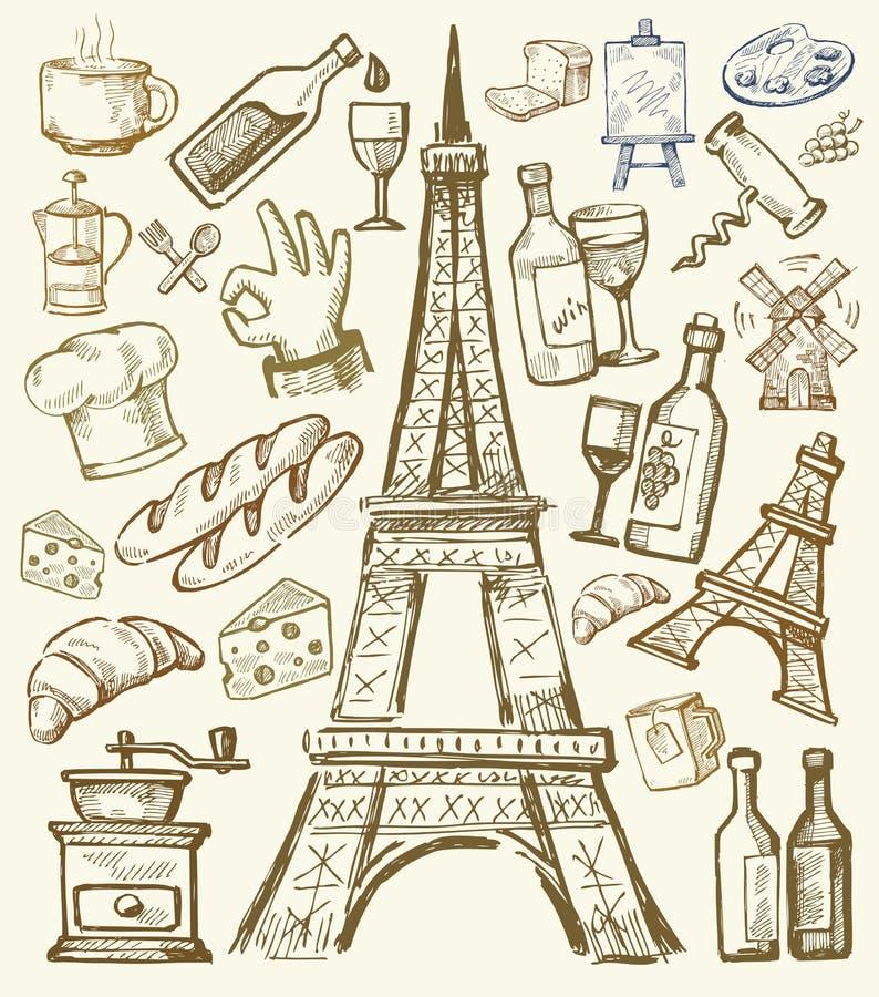 De vectorhand getrokken illustratie van Parijs stock illustratie
