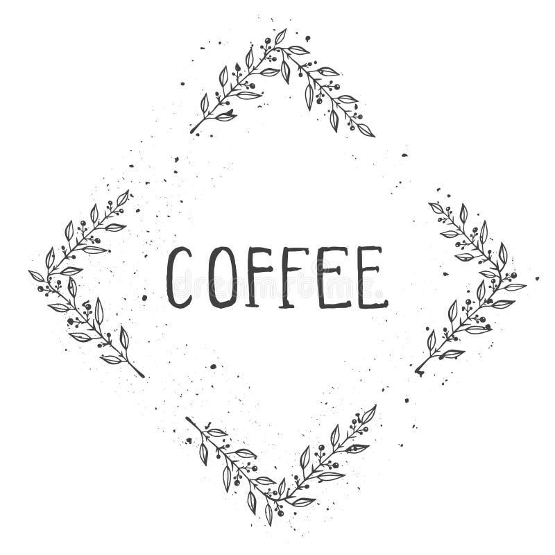 De vectorhand getrokken illustratie van tekstkoffie en het bloemen romboïdale kader met grunge inkten textuur royalty-vrije illustratie