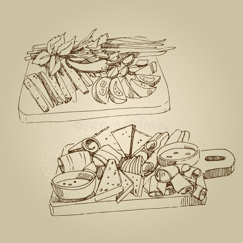 De vectorhand getrokken koude voorgerechten van de voedselschets, komkommers, tomaten, vet, greens, kruiden royalty-vrije stock afbeeldingen
