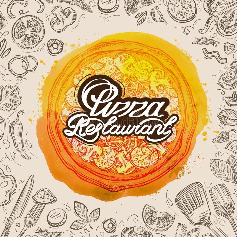 De vectorhand getrokken schets van het pizzarestaurant en voedselkrabbel vector illustratie