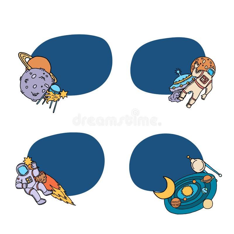 De vectorhand getrokken stickers van ruimteschipelementen vector illustratie
