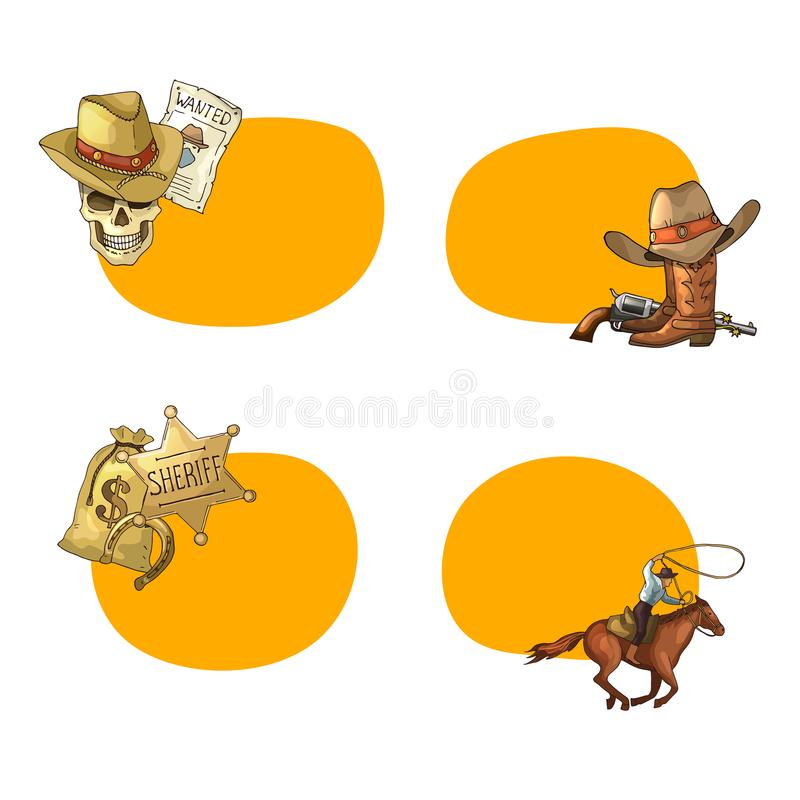 De vectorhand getrokken wilde stickers van de het westencowboy royalty-vrije illustratie