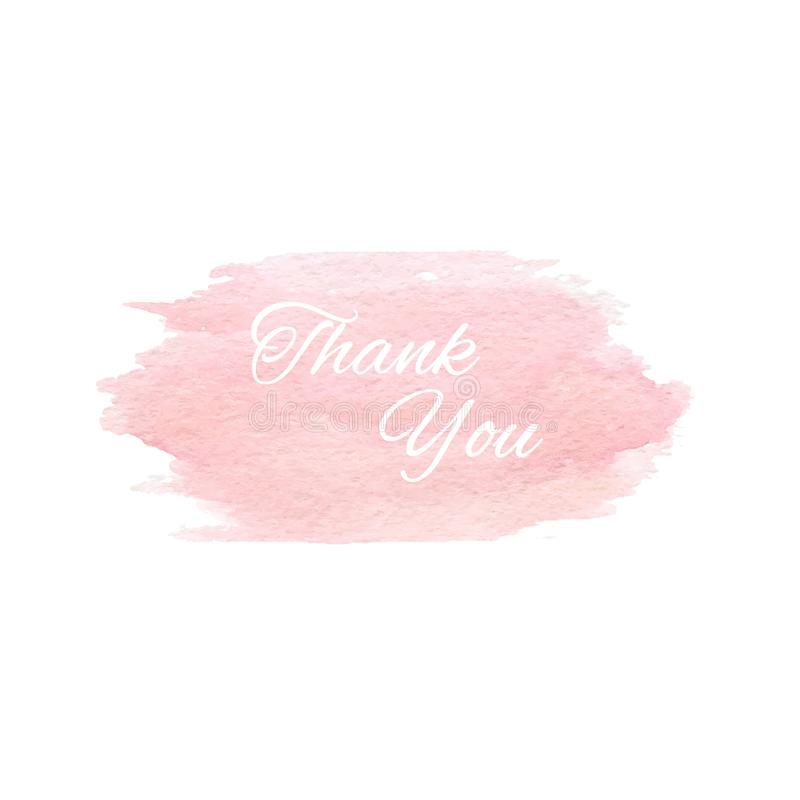 De vectorhand schilderde roze waterverftextuur op de witte achtergrond met Thank u tekst stock illustratie