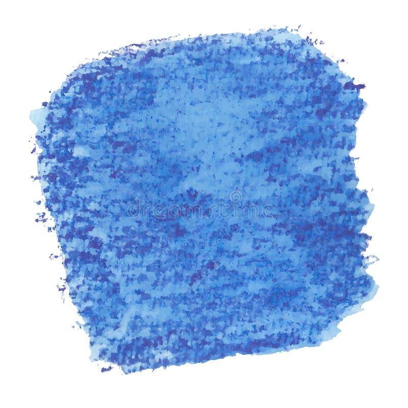 De vectorhand schilderde waterverf diep het schilderen - de gekleurde die vlek van denimjeans blauw op witte achtergrond wordt ge vector illustratie