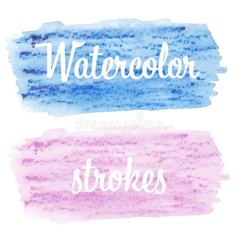De vectorhand schilderde waterverf het schilderen - blauwe en roze magenta gekleurde vlek die op witte achtergrond wordt geïsolee stock illustratie