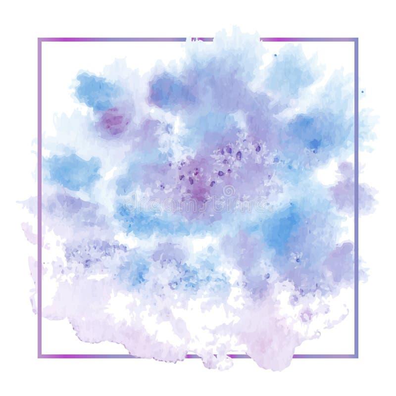 De vectorhand schilderde waterverf het schilderen - blauwe purpere viooltje gekleurde die vlek op witte achtergrond met dun wordt vector illustratie