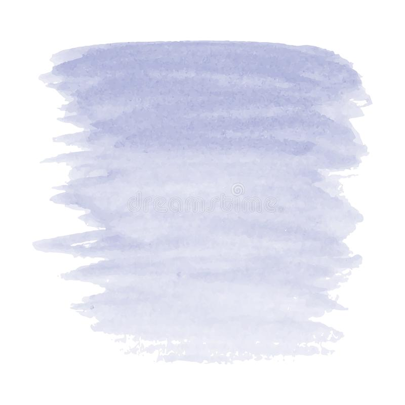 De vectorhand schilderde waterverf het schilderen - lavendel purpere violette gradiënt gekleurde die vlek op witte achtergrond wo stock illustratie