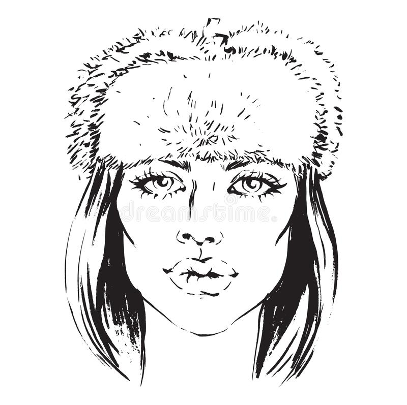 De vectorhand trekt illustratie van meisje in bonthoed royalty-vrije illustratie