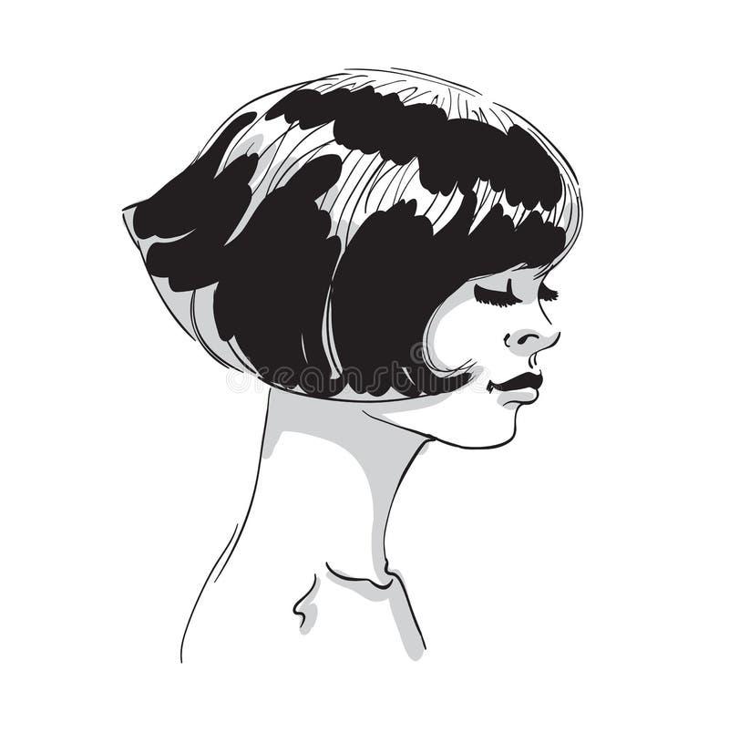 De vectorhand trekt illustratie van vrouwengezicht vector illustratie