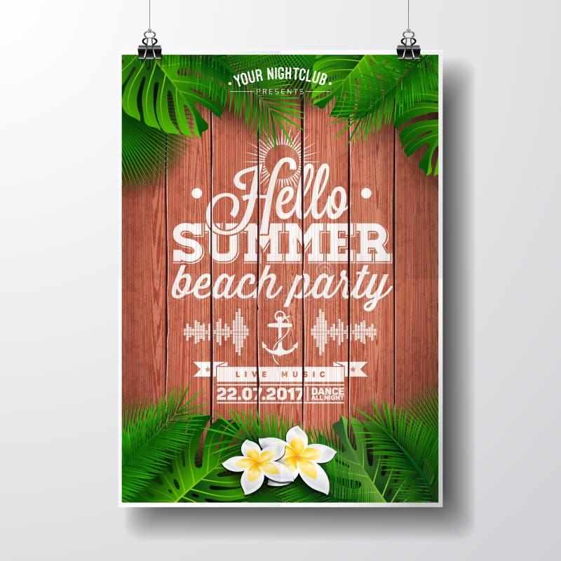 De vectorhello-illustratie van de de Partijvlieger van het de Zomerstrand met tropische installaties en bloemen royalty-vrije illustratie