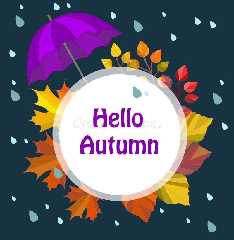De vectorherfst, dalingskaart, druk, illustratie, malplaatje, grens Hello-de herfst royalty-vrije illustratie
