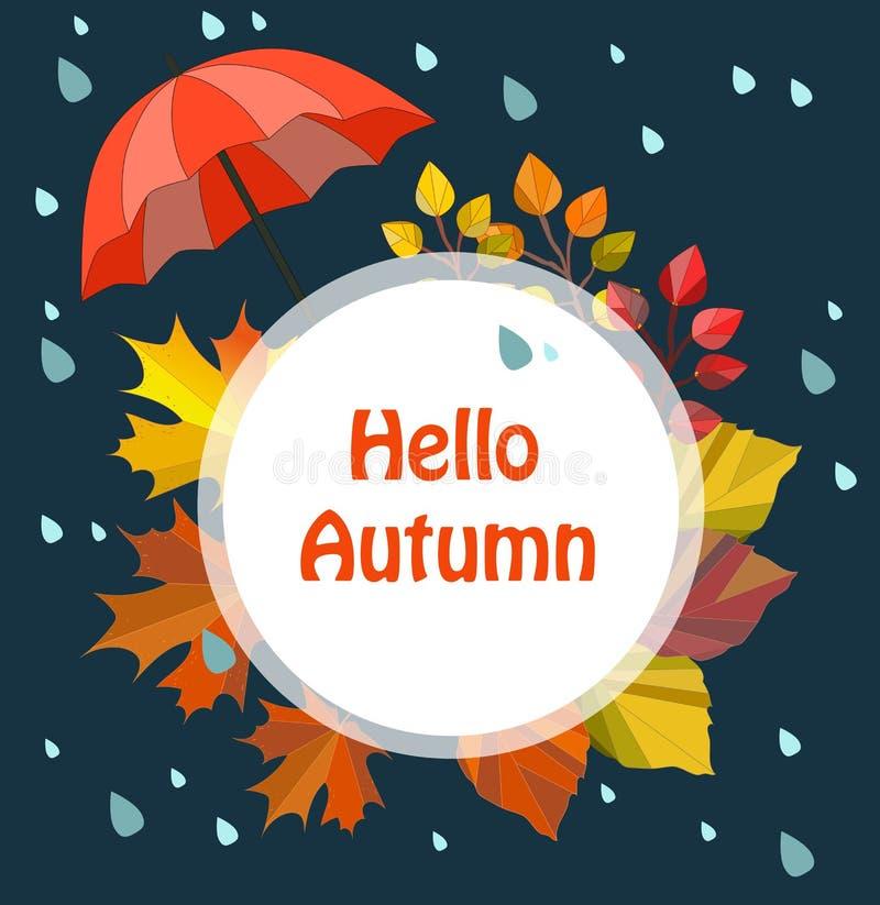De vectorherfst, dalingskaart, druk, illustratie, malplaatje, grens Hello-de herfst stock illustratie