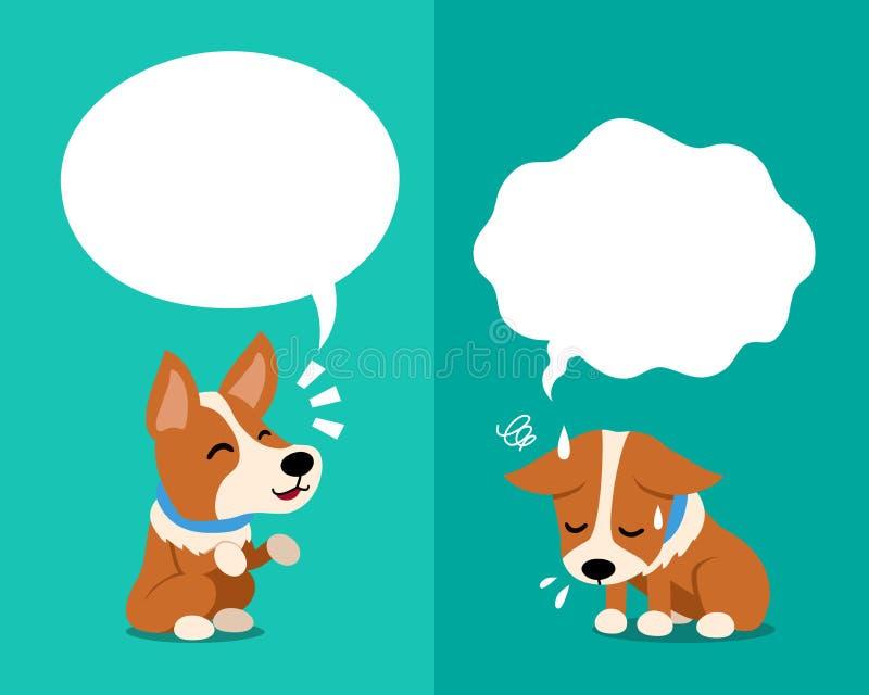 De vectorhond die van beeldverhaalcorgi verschillende emoties met toespraakbellen uitdrukken vector illustratie