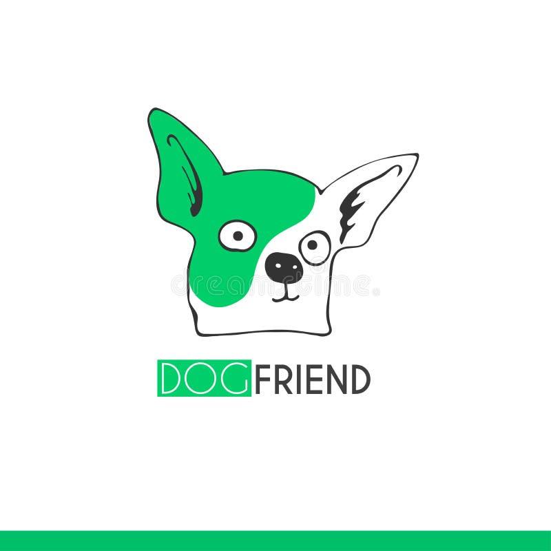 De vectorhond van het embleem grappige beeldverhaal, vriend, geschikt voor emblemen veterinaire kliniek, dierenwinkel te ondertek royalty-vrije illustratie