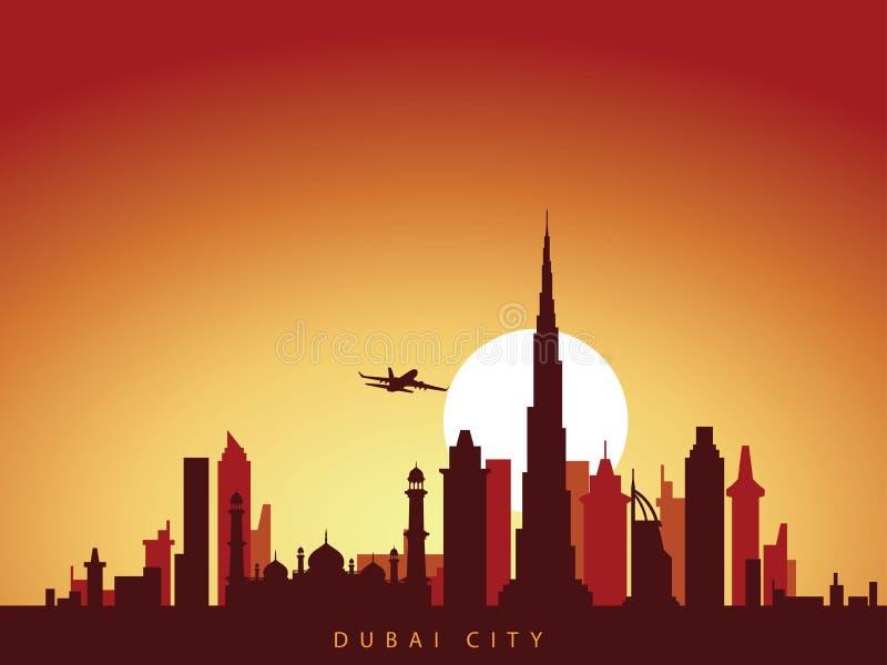 De vectorhorizon van de achtergrondontwerpstad van uni Arabische emiraten van Doubai met vliegtuig die boven de stad vliegen en d vector illustratie