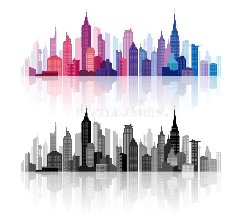 De vectorhorizon Van de binnenstad van gebouwensilhouetten vector illustratie