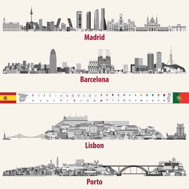 De vectorhorizonnen van de steden van Madrid, van Barcelona, van Lissabon en Porto in grijze schalen kleuren palet Vlaggen en kaa vector illustratie