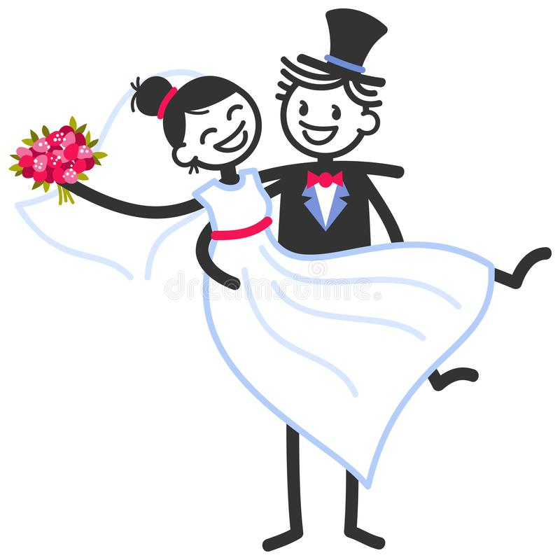 De vectorhuwelijksillustratie van gelukkige stokcijfers verzorgt dragende bruid, het malplaatje van de huwelijksuitnodiging stock illustratie