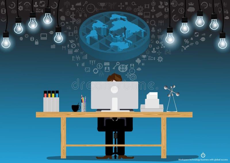 De vectorideeën van de zakenmanbrainstorming voor het gebruiken van technologie om met een computer, een printer, dossiers, potlo royalty-vrije illustratie