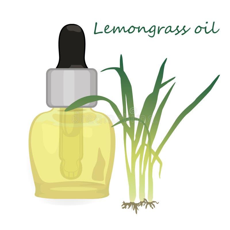 De vectorillustratie Aromatherapy van de citroengrasetherische olie royalty-vrije illustratie