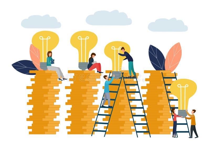 De vectorillustratie, bedrijfsconcept voor groepswerk, kleine mensen heft gloeilampen op kolommen van geld op Zoeken voor nieuwe  royalty-vrije illustratie