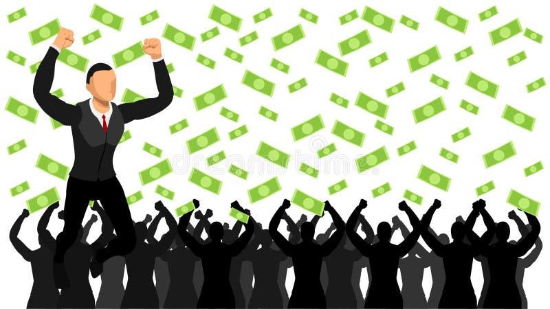 De vectorillustratie bedrijfsmensen vieren succes regen van geld en vreugde stock illustratie