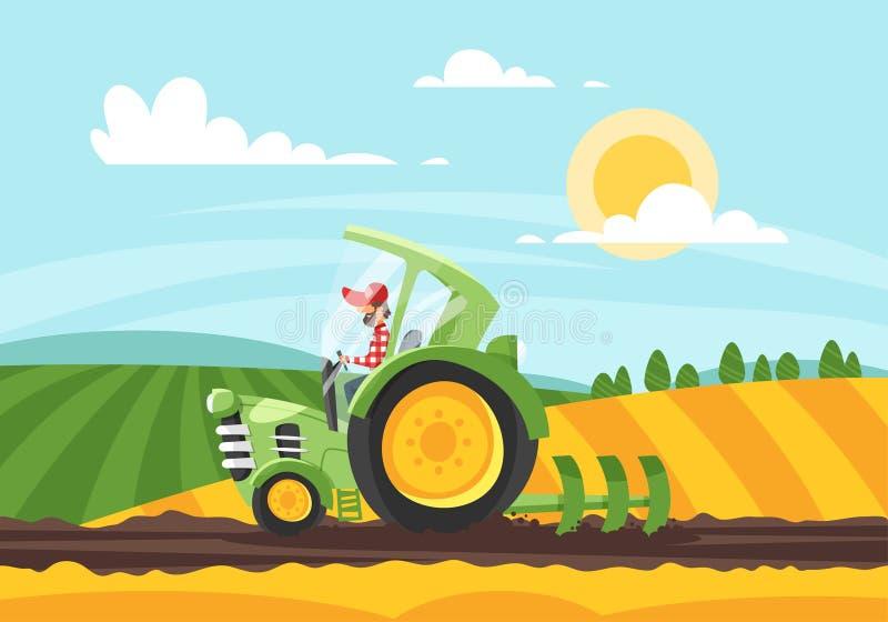 De vectorillustratie die van de beeldverhaalstijl van landbouwer in bewerkt land werken vector illustratie