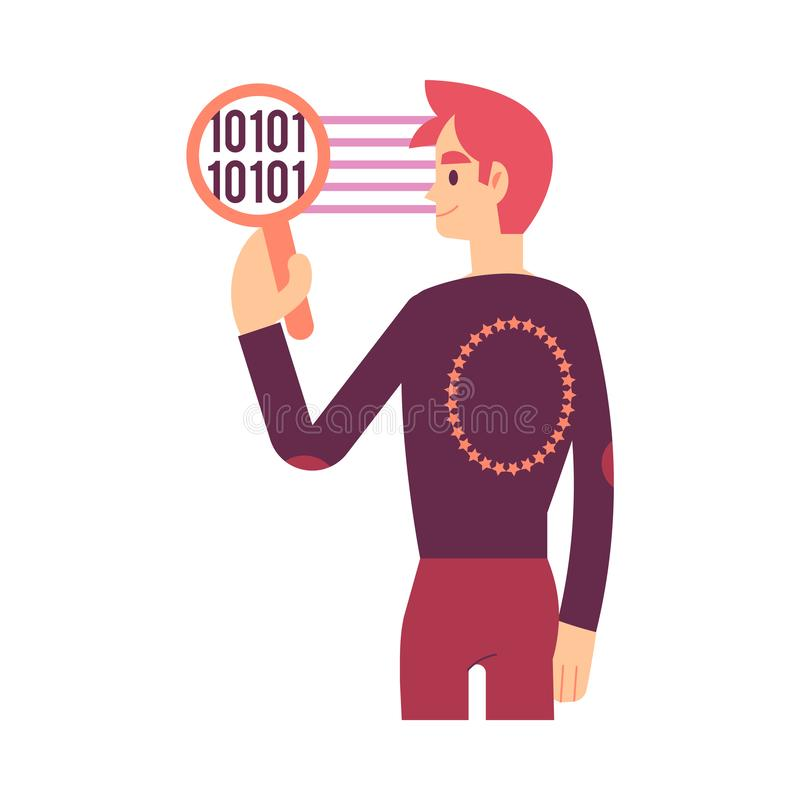 De vectorillustratie die van GDPR veilige persoonlijke informatieoverdracht afschilderen stock illustratie