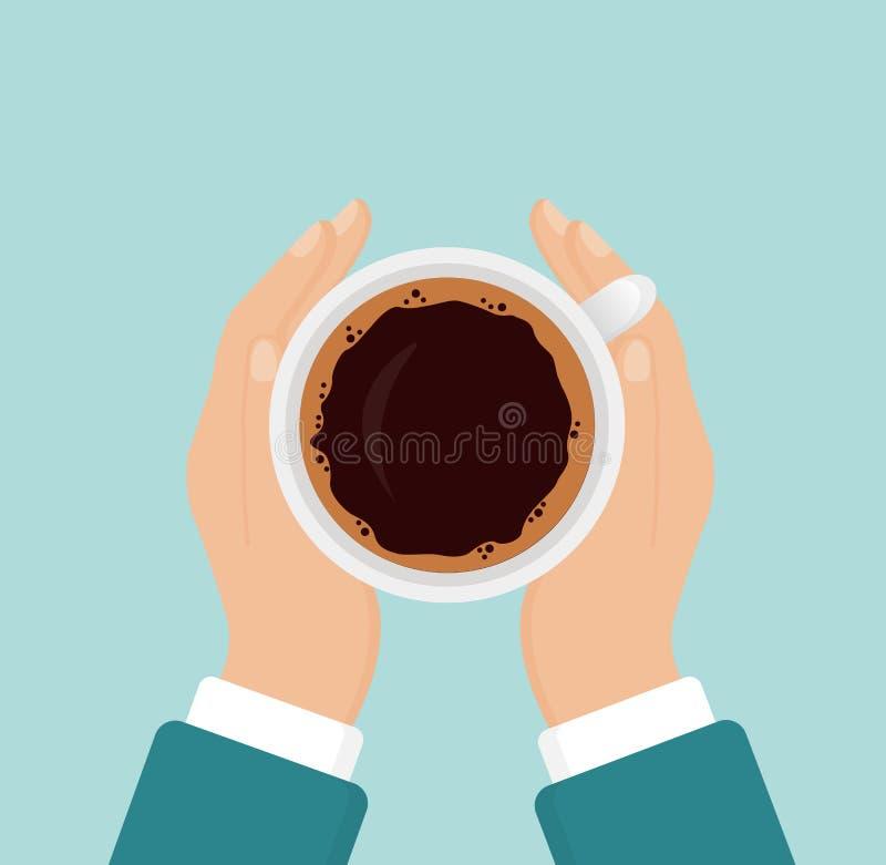 De vectorillustratie die van handen hete koffiekop, bedrijfspersoon houden wil koffie drinken, koffiepauzeconcept, ochtend royalty-vrije illustratie