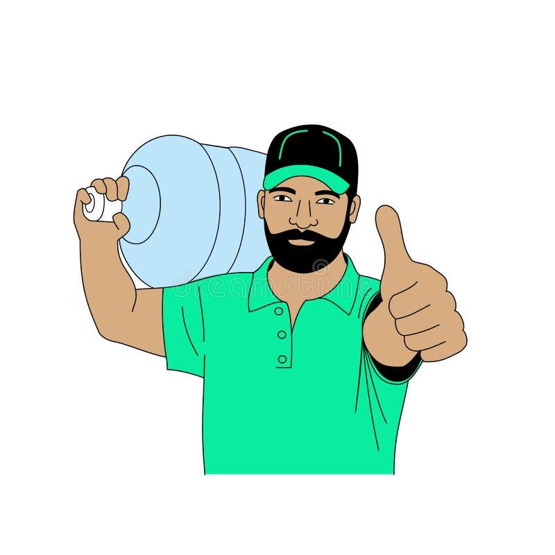 De vectorillustratie een mannelijke lader draagt een grote fles water op zijn schouder, hief een gebaarde mens duimen op vector illustratie