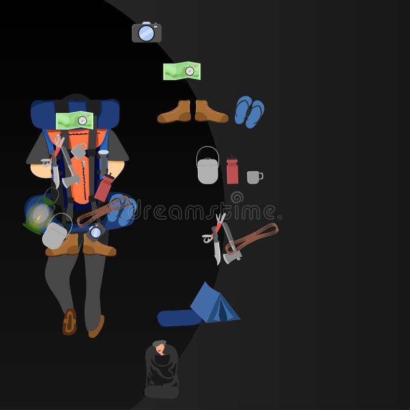 De vectorillustratie eps10 van het backpackermateriaal slowlife vector illustratie